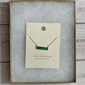 NWT Green Adventurine Bar Necklace